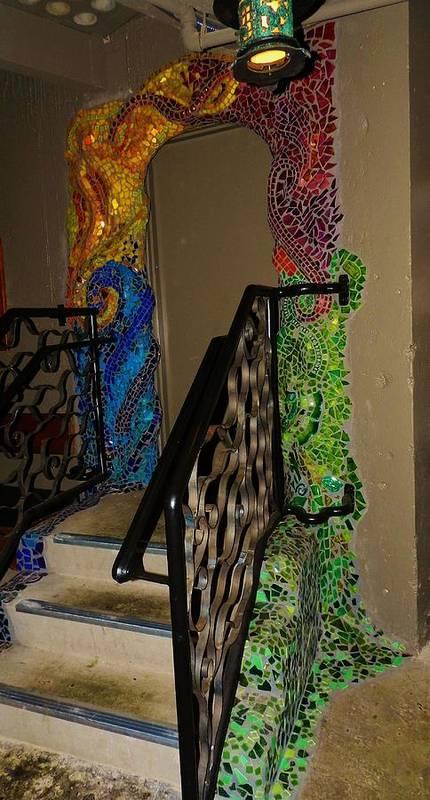 Mosaic Doorway Poster featuring the ceramic art Mosaic Doorway by Charles Lucas