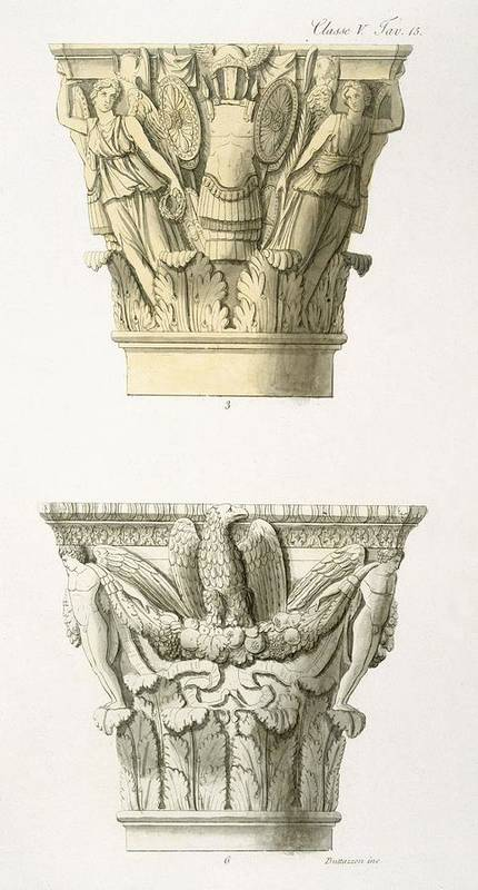 Architecture Poster featuring the drawing Two Column Capitals by .