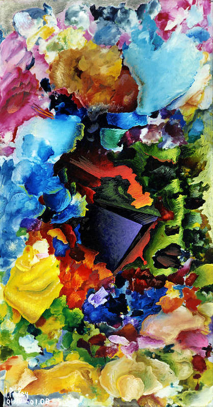 Breakthrough Igor Paley Neosyu Surreal Abstract Expressionism Modern Contemporary Art Original Painting Oil Canvas Acrylic Mixed Media Large Colorful Vivid Decorative Non-objective Geometric Shapes Balls Circles Squares Organic Nature Life Landscape Trees Flowers Birds Fish Butterflies Eggs Clouds Sea Storm Waves Water Air Fire Flames Lights Sun Moon Portrait Nude Erotic Spiritual Joy Poster featuring the painting Breakthrough by Igor Paley