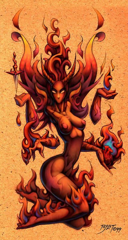 Angel Poster featuring the digital art Fire by David Bollt