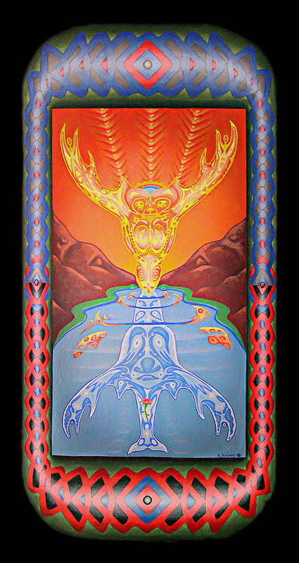 Native American Poster featuring the painting Grandmother Grandfather by Kevin Chasing Wolf Hutchins