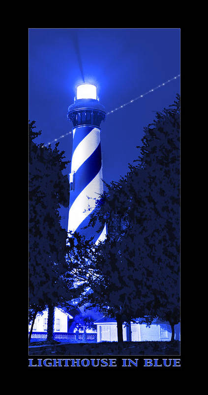 St. Augustine Lighthouse Poster featuring the photograph Lighthouse In Blue by Mike McGlothlen