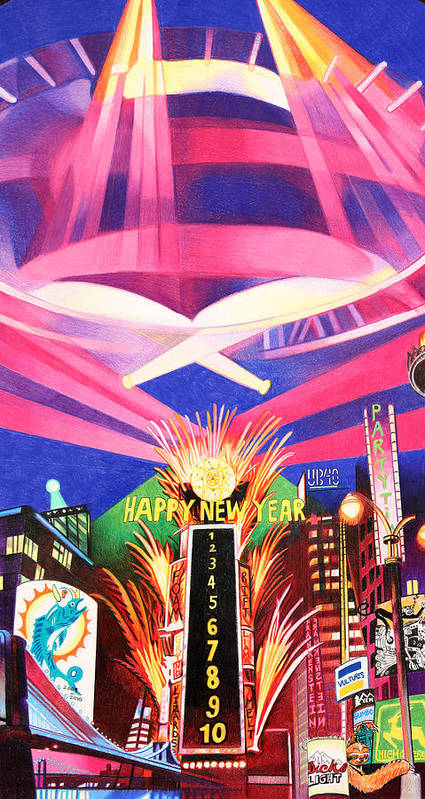 Phish Poster featuring the drawing Phish New Years In New York Middle by Joshua Morton