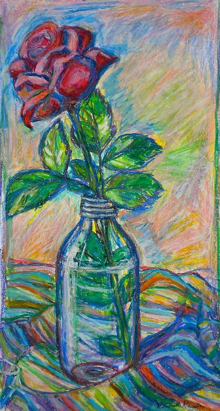 Still Life Poster featuring the painting Rose In A Bottle by Kendall Kessler