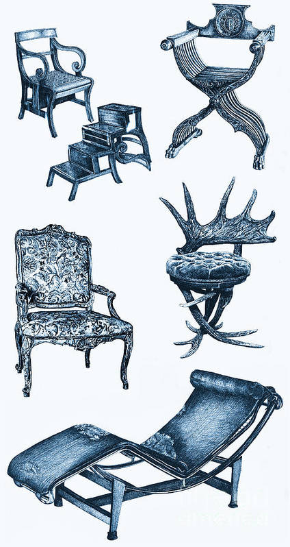 Stag Poster featuring the drawing Chair Poster In Blue by Adendorff Design