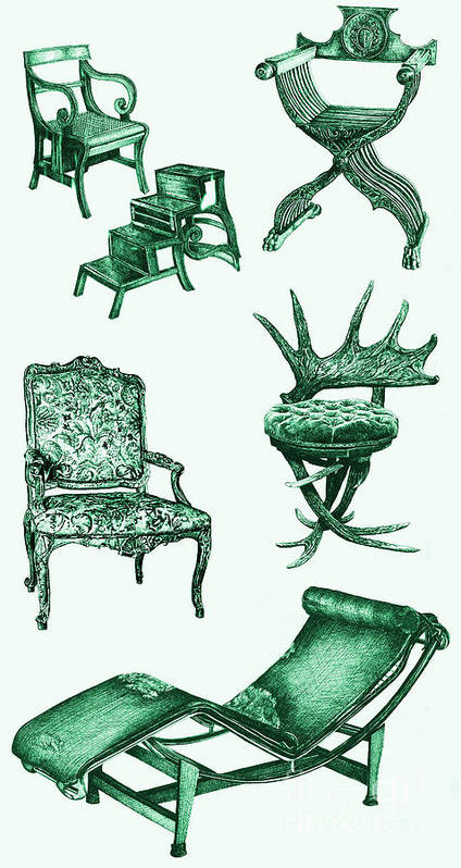 Stag Poster featuring the drawing Chair Poster In Green by Adendorff Design