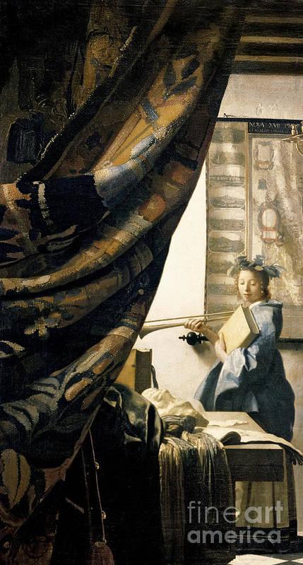 Vermeer Poster featuring the painting The Artist's Studio by Jan Vermeer