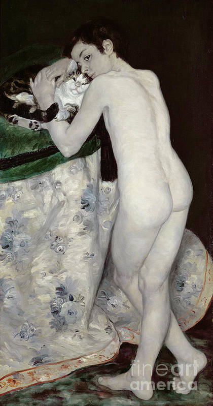 Le Garcon Au Chat; Male; Nude; Rear View; Young; Impressionist Poster featuring the painting A Boy With A Cat by Pierre Auguste Renoir