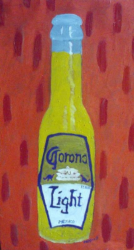 Pop Art Poster featuring the painting Bottle Of Corona Light by Patrice Tullai
