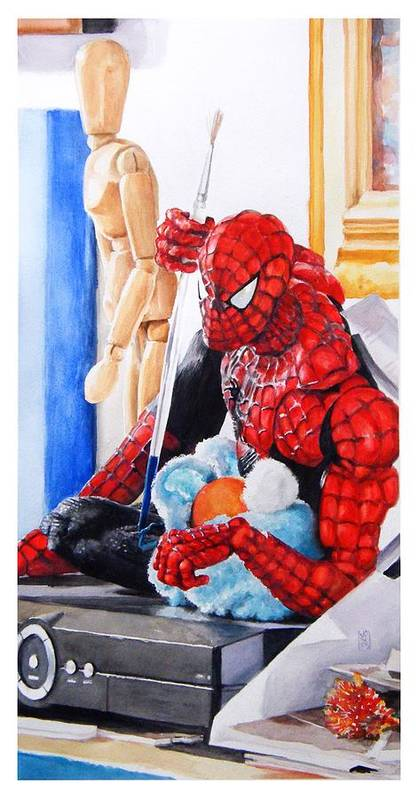 Spiderman Poster featuring the painting Discovered by Debra Jones