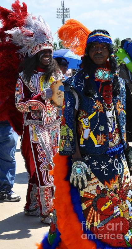 Mardi Gras Indians Poster featuring the photograph Full Costume by Christina McKinney