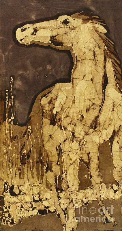 Batik Poster featuring the tapestry - textile Horse Above Stones by Carol Law Conklin