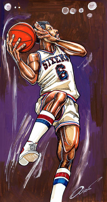 Julius Erving Poster featuring the painting Julius Erving by Dave Olsen