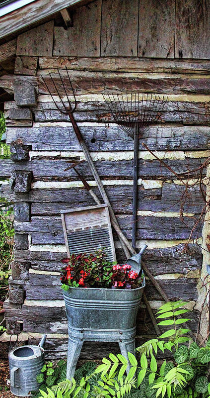 Creative Poster featuring the photograph Tall Log Cabin And Garden Tools by Linda Phelps
