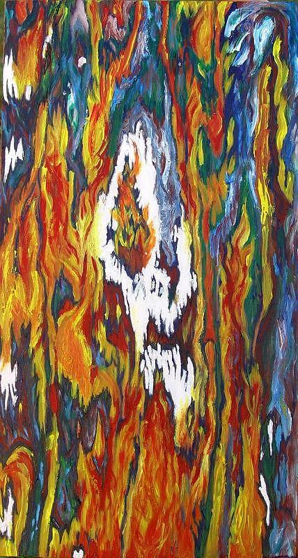 Skull And Faces Melting - Alight Poster featuring the painting The Vibes by Megan Canell Downing