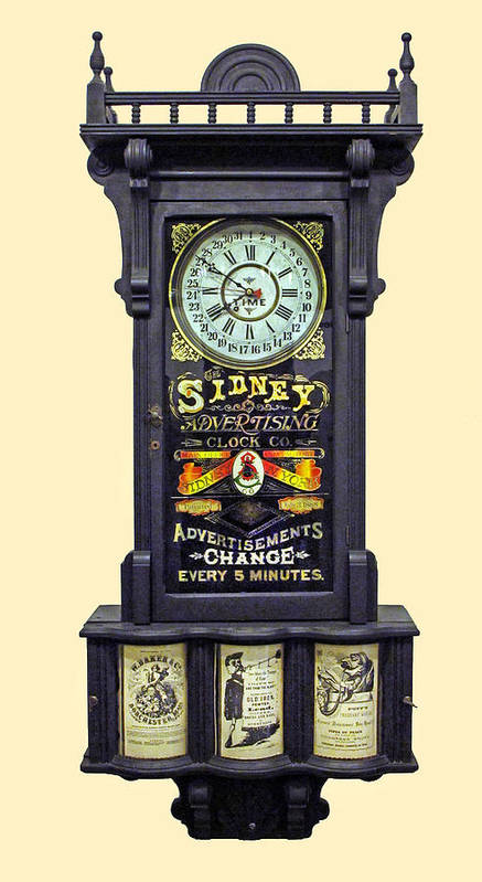 Advertising Clock Poster featuring the photograph Advertising Clock by Dave Mills