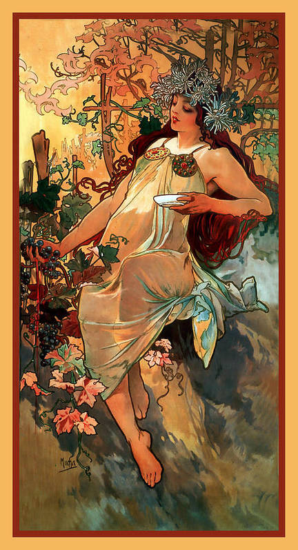 Alphonse Maria Mucha Poster featuring the digital art Autumn by Alphonse Maria Mucha