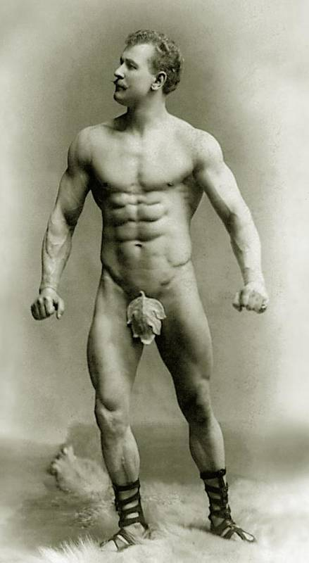 Eugen Sandow; Pioneer; Pioneering; Physique; Competitor; Star; Competition; Building; Pose; Posing; Model; Moustache; German; Ziegfeld Follies; Follies; Ideal; Standard; Modelling; Buskin; Buskins; Body Builder Poster featuring the photograph Eugen Sandow In Classical Ancient Greco Roman Pose by American Photographer