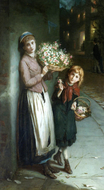 Augustus Edwin Mulready Poster featuring the digital art Flower Girls A Summer Night by Augustus Edwin Mulready