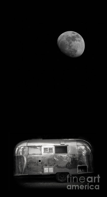 Black Poster featuring the photograph Moonrise Over Airstream by Edward Fielding