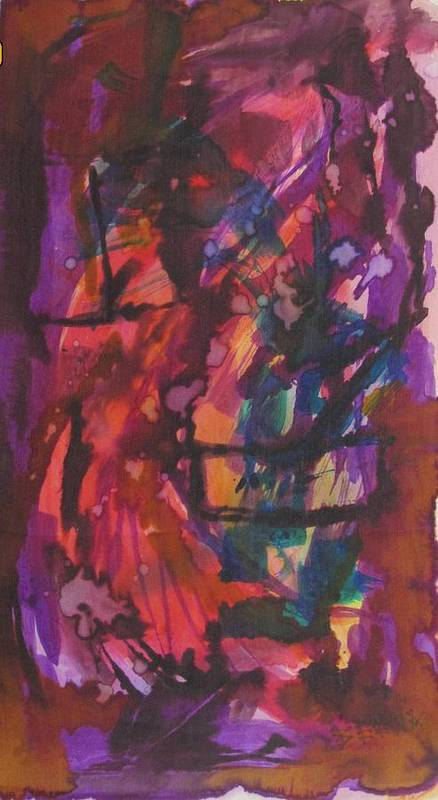 Abstract Poster featuring the painting Purple Prayer by Beena Samuel