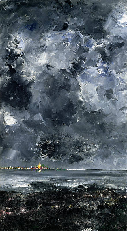 Expressionist; Storm; Sea; Harbour; Port; Stormy; Sky; Cloud Study; Symbolist; Stormy; Skyscape; Dramatic; Nature; Elements; Elemental; Blue; Night; Nocturne; Dark; Glowing; Isolated; Humanity; Culture Poster featuring the painting The Town by August Johan Strindberg