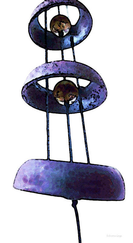Wind Poster featuring the painting Wind Chime 8 by Sharon Cummings