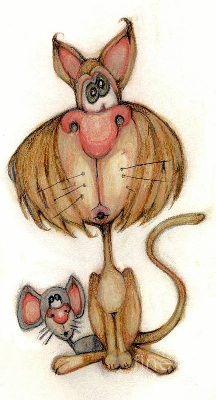 Cat Poster featuring the drawing Bobblehead No 59 by Edward Ruth