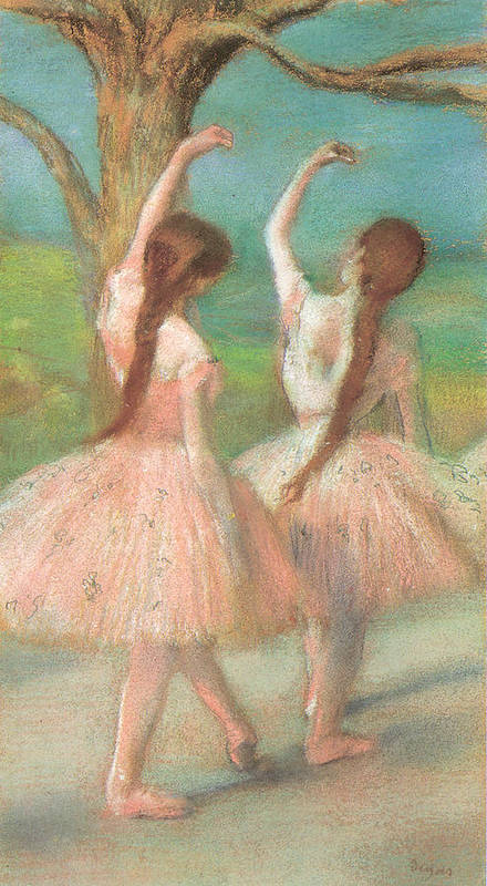 Dancers In Pink Poster featuring the pastel Dancers In Pink by Edgar Degas