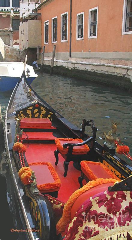 Angelica Dichiara Poster featuring the digital art Gondola Rossa Venice Italy by Italian Art