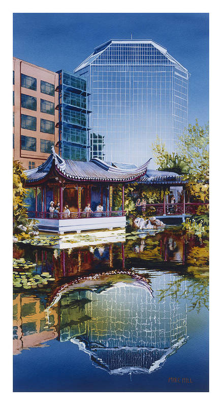 Portland Chinese Oriental Garden Asian Water Lilies Reflection Pagoda Office Building Blue Pond City Poster featuring the painting Occidental Oasis by Mike Hill