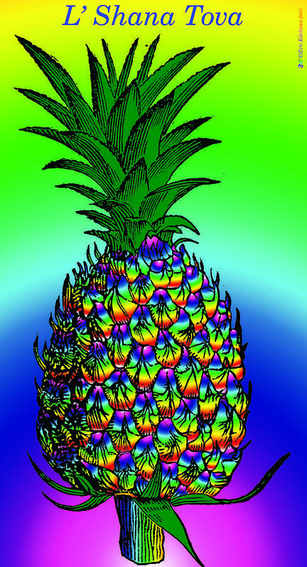 Pineapple Poster featuring the digital art Rosh Hashanah Pineapple by Eric Edelman