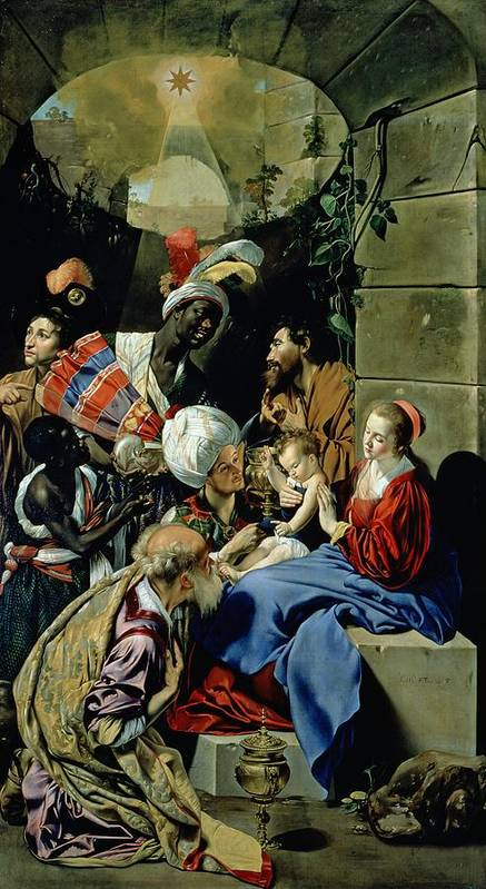 Fray Juan Batista Maino Poster featuring the painting The Adoration Of The Kings by Fray Juan Batista Maino