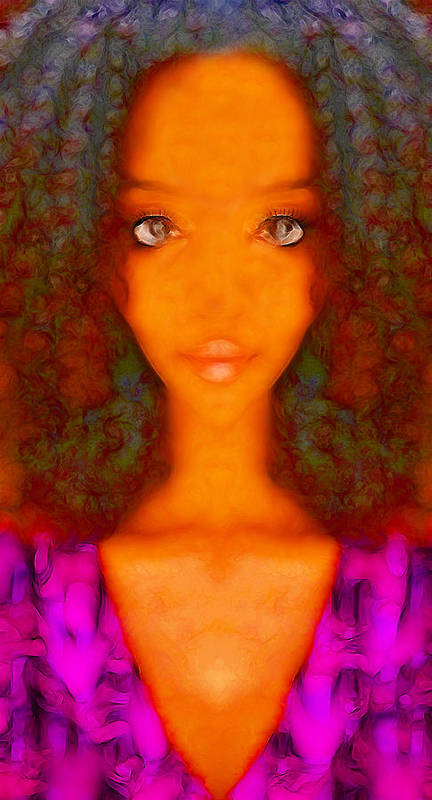 Abstract Female Portrait Poster featuring the digital art Twiggy by Devalyn Marshall