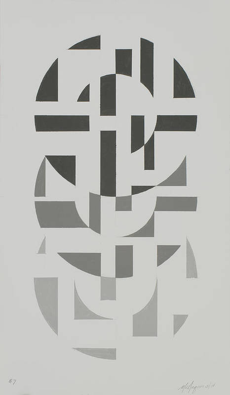 Abstract Geometric Painting Poster featuring the painting Arrangement in Gray #7 by Marston A Jaquis