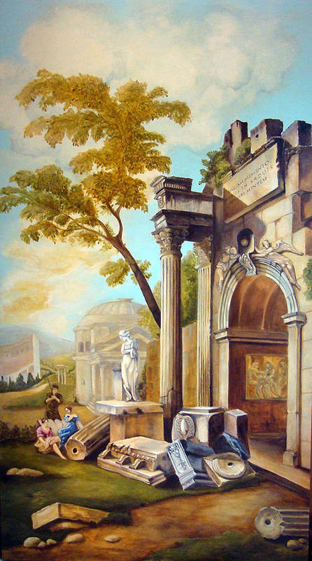 Italian Ruins Poster featuring the painting Classical Ruins by Teresa Carter