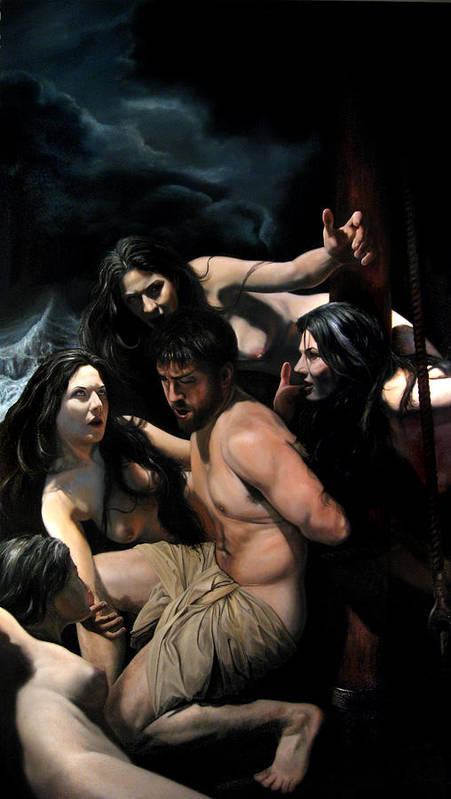 Figurative Art Poster featuring the painting Odysseus and the Sirens by Eric Armusik