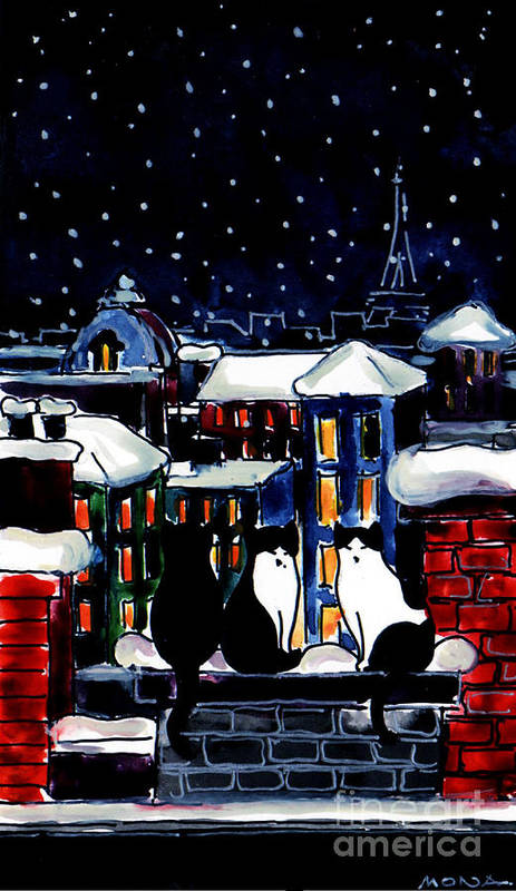 Paris Cats Poster featuring the painting Paris Cats by Mona Edulesco