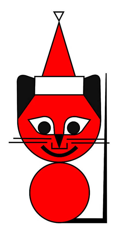 The Red Cat Wishes You A Merry Christmas Poster featuring the digital art The Red Cat wishes you a Merry Christmas by Asbjorn Lonvig