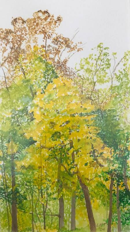 Autumn Poster featuring the painting Backyard by Leah Tomaino