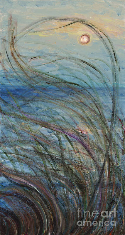 Sunrise Poster featuring the painting Ocean Grasses in the Wind by Nadine Rippelmeyer