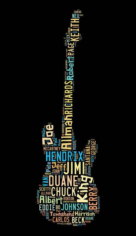 Duane Allman Poster featuring the digital art Rock Guitar Legends by Bill Cannon