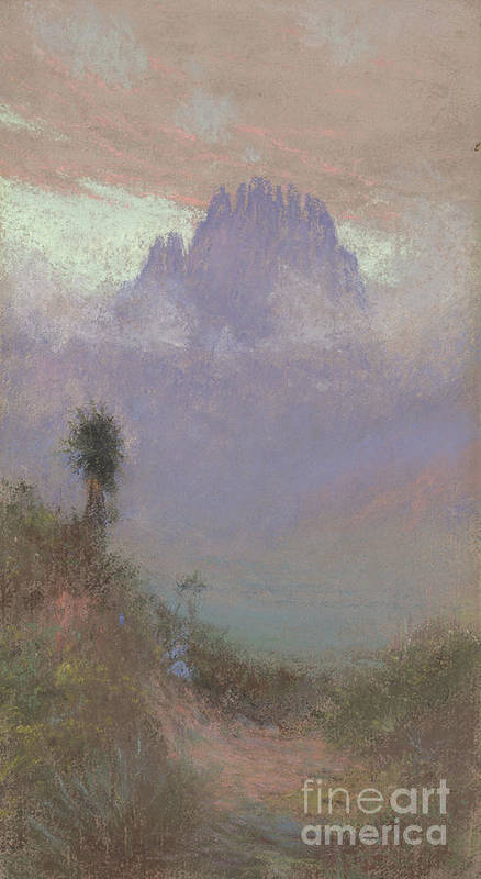 Mountainous Poster featuring the painting Untitled Mountain Landscape, 1920, Pastel by Charles Franklin Reaugh