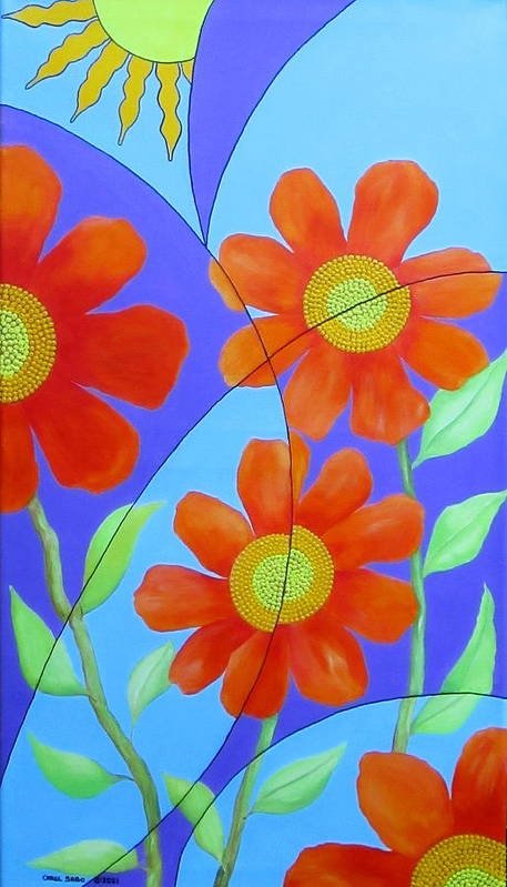 Fractal Poster featuring the painting Fractal Floral Summer by Carol Sabo