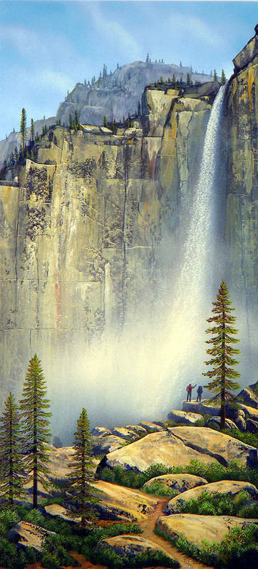 Landscape Poster featuring the painting Misty Falls by Frank Wilson