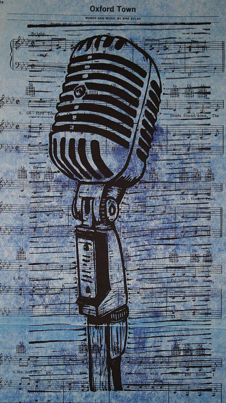 Mic Poster featuring the drawing Shure 55s On Music by William Cauthern