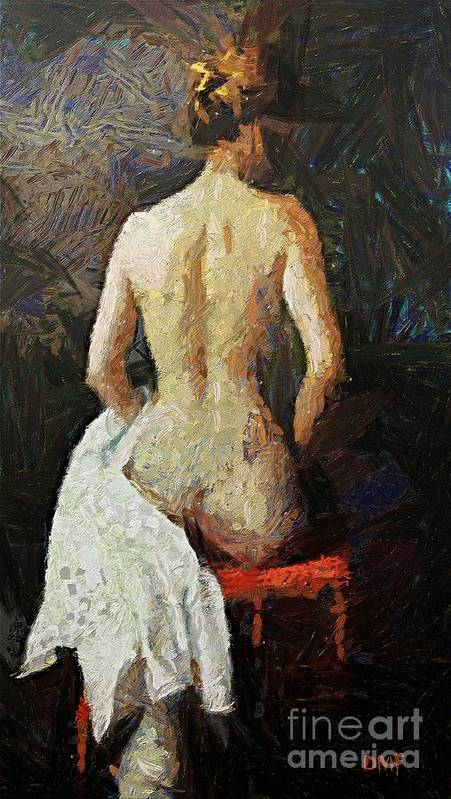 Nude Poster featuring the painting A Red Chair by Dragica Micki Fortuna