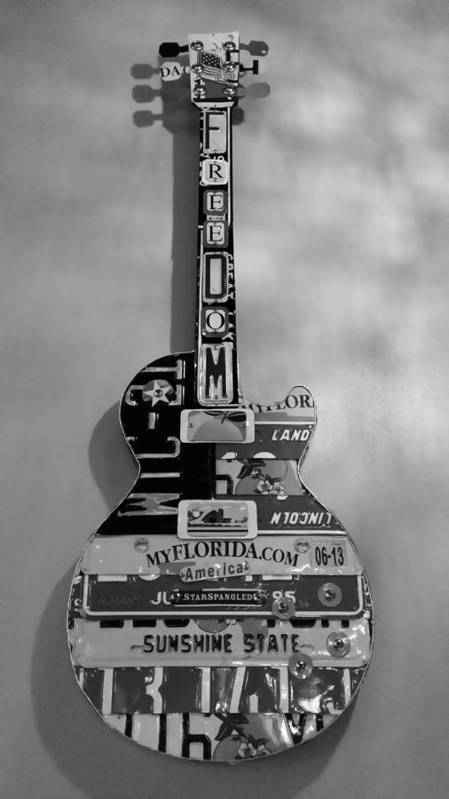 Star Spangled Poster featuring the photograph American Guitar In Black And White1 by Rob Hans