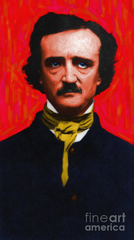 Edgar Poster featuring the photograph Edgar Allan Poe - Painterly by Wingsdomain Art and Photography