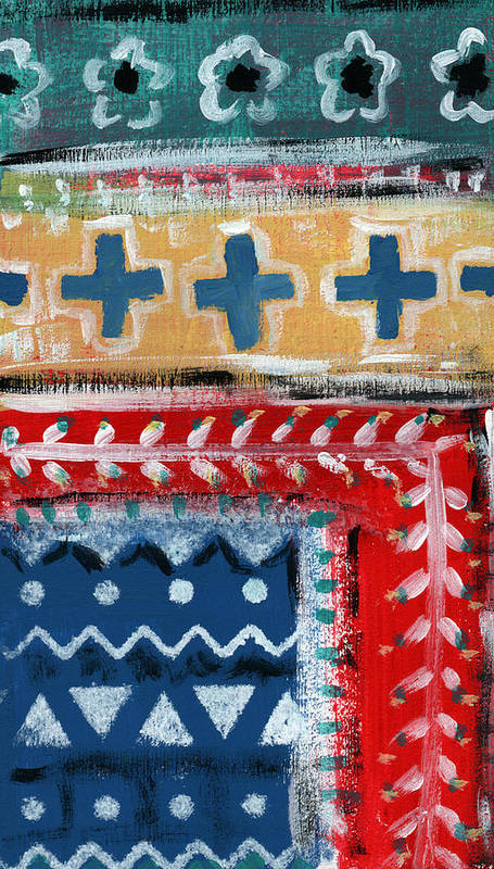Fiesta Poster featuring the mixed media Fiesta 3- Colorful Pattern Painting by Linda Woods